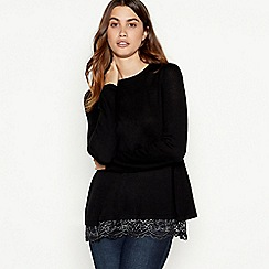 RJR.John Rocha - Black floral lace split back jumper
