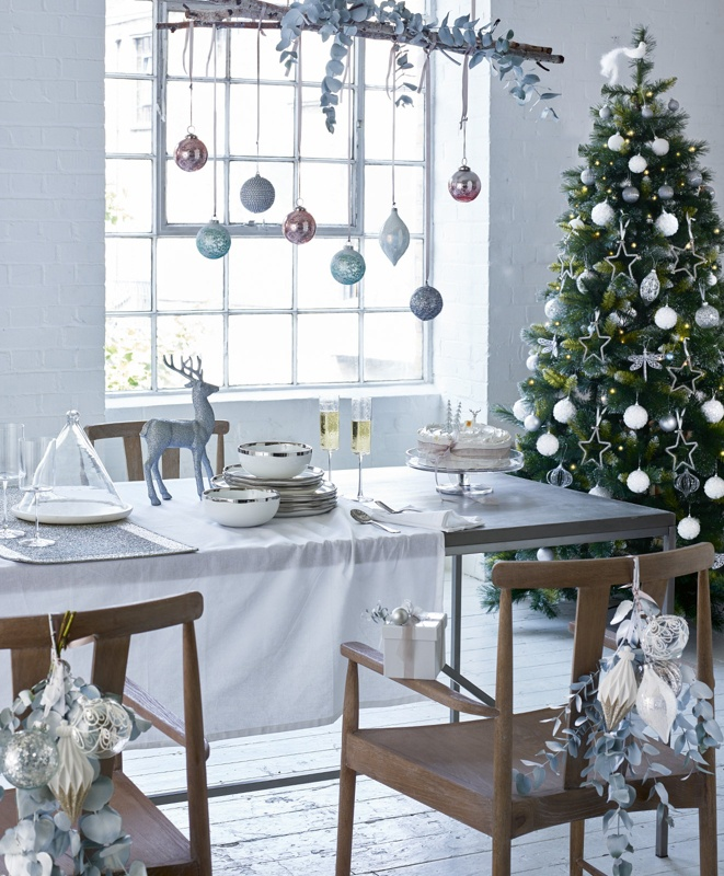 DREAMING OF A WHITE CHRISTMAS Create a serene festive setting with  contemporary decorations in a simple palette of silver, white and rose gold. - Deck The Halls Debenhams