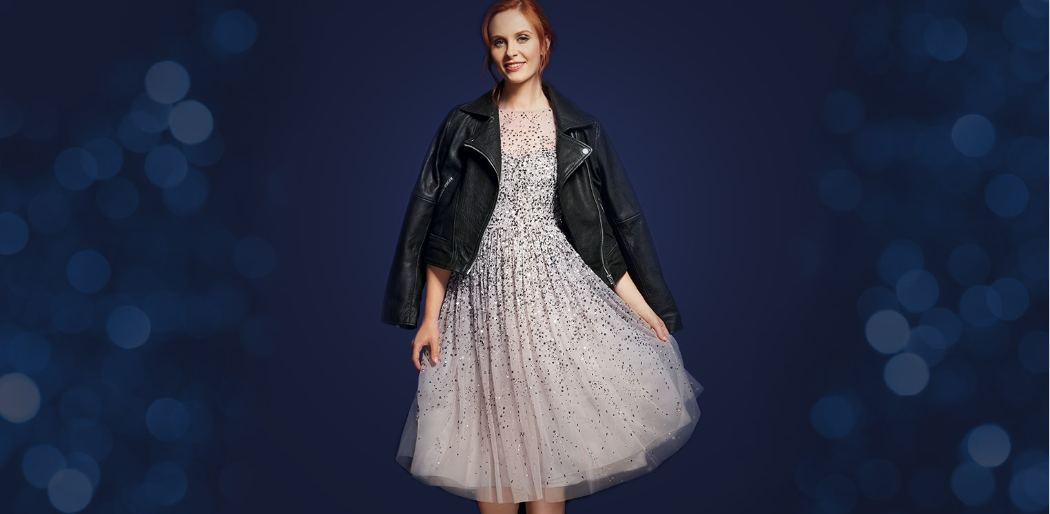 d4f01559281b 1 THE SEQUIN DRESS Shine Bright Steal the spotlight in show-stopping  sparkles and sequins. Just add a leather jacket for a cool