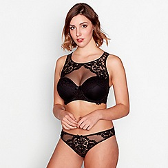 Gorgeous DD+ - Black floral lace and mesh 'Ruby' underwired padded high neck bra