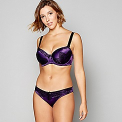 Gorgeous DD+ - Dark purple satin lace 'Lillyanna' underwired padded plunge bra