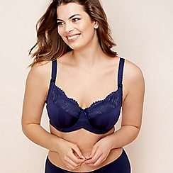 Gorgeous DD+ - Navy lace trim 'Wendy' underwired non-padded full cup bra
