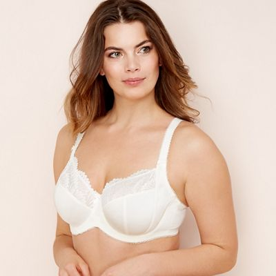 56412f36df Gorgeous DD+ - Ivory lace trim  Wendy  underwired non-padded full cup bra