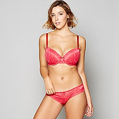 Gorgeous DD+ - Red lace 'Molly' underwired padded plunge bra