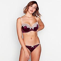 Gorgeous DD+ - Purple leopard print satin 'Myra' underwired padded plunge bra