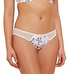 Gorgeous DD+ - Ivory floral print lace 'Angela' bikini knickers