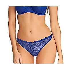 Freya - Blue lace cotton blend 'Freya Fancies' thong