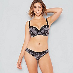 Gorgeous DD+ - Grey floral jacquard 'Gracie' satin lace underwired padded balcony bra