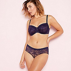 Gorgeous DD+ - Dark purple lace underwired non-padded full cup balcony bra