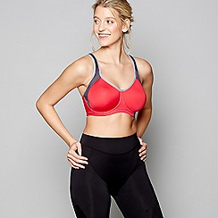 Freya - Red underwired moulded cups DD+ sports bra