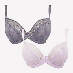 Gorgeous DD+ - 2 Pack Grey and Lilac Underwired Non-Padded Plunge Bras