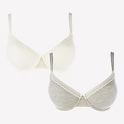 Gorgeous DD+ - 2 Pack Grey and White Underwired Padded T-Shirt Bras
