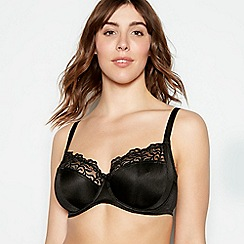Gorgeous DD+ - Black embroidery underwired non-padded full cup balcony bra