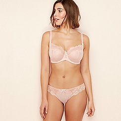 Gorgeous DD+ - Light pink lace mesh 'Selina' underwired non-padded full cup balcony bra