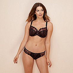 Gorgeous DD+ - Black embroidered 'Delphine' underwired non-padded balcony bra