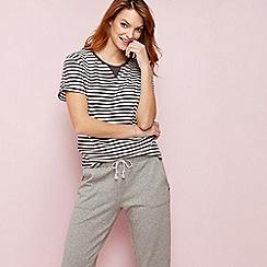 Lounge & Sleep - Grey striped print short sleeve pyjama top