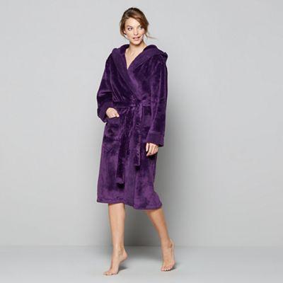 J by Jasper Conran Purple fleece dressing gown | Debenhams