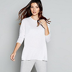 J by Jasper Conran - Grey stripe print long sleeve loungewear top