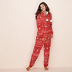 Lounge & Sleep - Red Fair Isle print fleece onesie