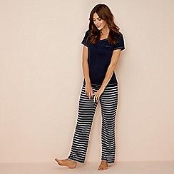 Lounge & Sleep - Navy stripe print pure cotton short sleeve pyjama set