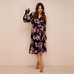 Lounge & Sleep - Purple floral print fleece dressing gown