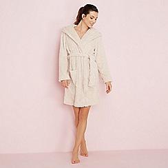 Lounge & Sleep - Cream reindeer embroidered fleece dressing gown