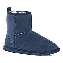 Lounge & Sleep - Navy suede slipper boots