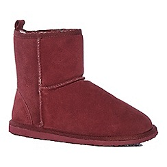 Lounge & Sleep - Maroon red suede slipper boots
