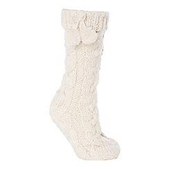 Lounge & Sleep - Cream cable knit slipper socks