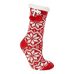 Lounge & Sleep - Red chunky Fair Isle knitted slipper socks