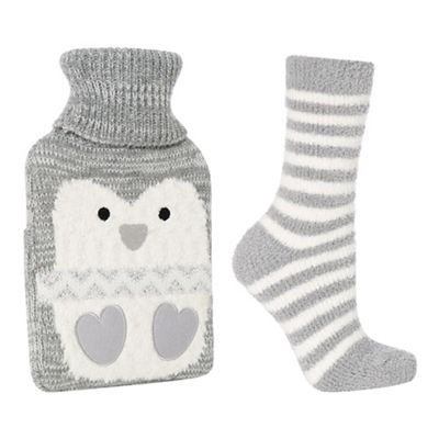 Image result for lounge and sleep grey penguin hot water bottle and socks set