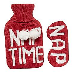Lounge & Sleep - Red hot water bottle and sleep mask set