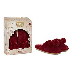 Totes - Red suedette fur pom pom mule slippers