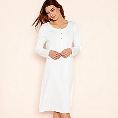 Lounge & Sleep - Cream spot print pure cotton long sleeve nightdress
