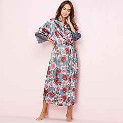 The Collection - Grey floral print satin dressing gown