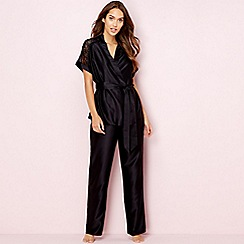 The Collection - Black satin lace 'Decadent' pyjama set