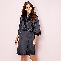 The Collection - Dark grey spot print satin dressing gown