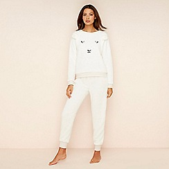Lounge & Sleep - Cream fleece 'Counting Sheep' pyjama set