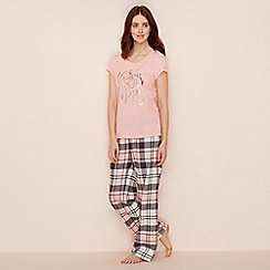 Lounge & Sleep - Pink slogan print cotton blend short sleeve pyjama set