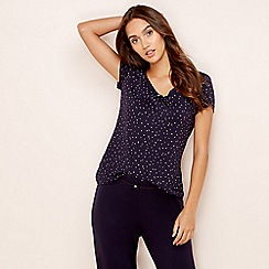 Lounge & Sleep - Navy star print short sleeve pyjama top