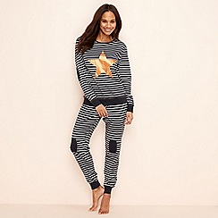 Lounge & Sleep - 2 pack navy gilded star striped cotton long sleeve pyjamas