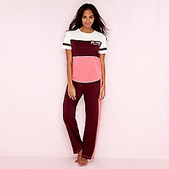 Lounge & Sleep - Maroon cotton blend 'Margot' pyjama set
