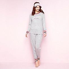 Lounge & Sleep - Grey slogan print 'Too Tired' pyjama set with sleep mask