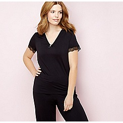 Gorgeous DD+ - Black lace trim short sleeve pyjama top