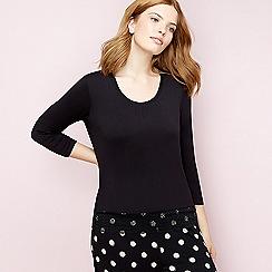 Gorgeous DD+ - Black lace 3/4 sleeve pyjama top