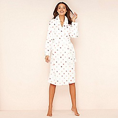 Lounge & Sleep - Cream spot print fleece dressing gown