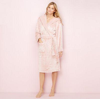 Lounge & Sleep Light pink heart embossed fleece dressing gown ...