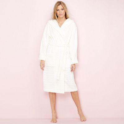 Lounge   Sleep Cream heart embossed fleece dressing gown  15abfde4c