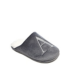 Lounge & Sleep - Grey embroidered letter 'A' mule slippers