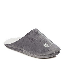 Lounge & Sleep - Grey embroidered letter 'J' mule slippers